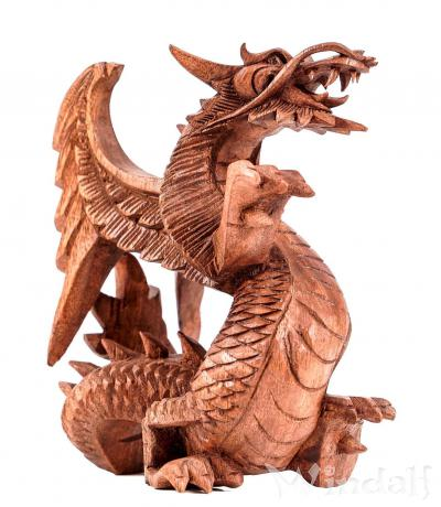 Holz Deko Drache ~ RATNI ~ h: 18 cm - Drachenfigur - Handgearbeitet aus Holz - Windalf.de
