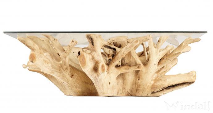 Asiatischer Couchtisch ~ MILDRI ~ Länge: 135 cm - Wurzelgeflecht - Handgearbeitet aus Wurzelholz - Windalf.de