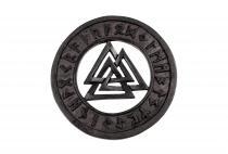 Wikinger Wandbild ~ VALKNUT ~ Ø 23 cm - Wotansknoten mit Runen - aus Holz - Windalf.de