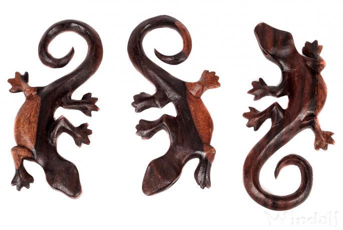 Gecko Holz Deko ~ ROONY ~ 13 cm - Glücks-Gecko - Handarbeit aus Holz - Windalf.de
