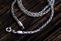 Vintage Halskette ~ FALKONA ~ 55 cm - Asatru Wikinger Kette - Handarbeit aus Silber - Windalf.de
