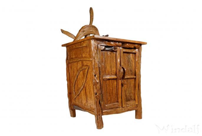 Hobbit Kommode mit Krone ~ SARINA ~ h: 126 cm - Wohnzimmer Schrank mit 2 Türen - Handarbeit aus Wurzelholz - Windalf.de