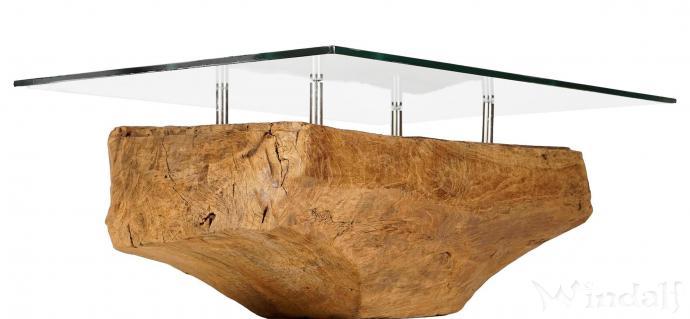 Antiker Couchtisch mit Glasplatte ~ ARAYNA ~ B: 75 cm H: 34 cm - Teakholztisch - Unikat - Windalf.de