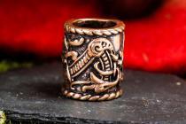 XL Haarperle ~ RAGONA ~ Ø 1 cm - Bartschmuck - Vikings Drachen Schmuck - Dread Tube - Bronze - Windalf.de