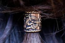XL Haarperle ~ RAGONA ~  Ø 1 cm - Bartschmuck - h: 1.6 cm - Vikings Drachen Schmuck - Dread Tube - Bronze - Windalf.de
