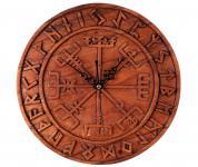 Asatru Wanduhr~ VEGVESIR ~ Ø 30 cm - Viking Runen Wand Uhr - Handarbeit aus Holz - Windalf.de