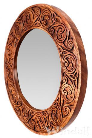 Vintage Wandspiegel ~ RICA ~ Ø 40 cm - Celtic Lebens Spiralen & Triskele - Natur Holzspiegel - Handarbeit - Windalf.de