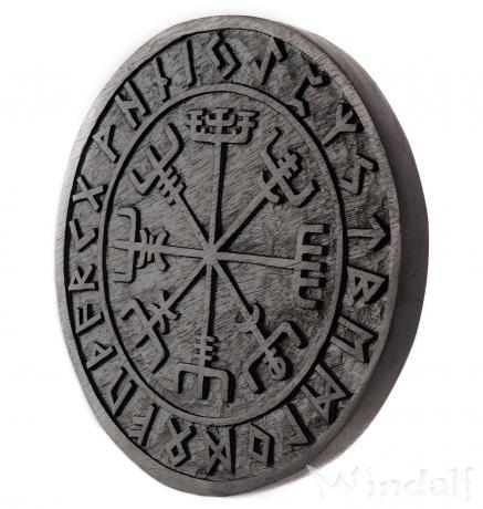 Schwarzes Asatru Holzbild ~ VEGVESIR ~  Ø 23 cm - Viking Kompass mit Futhark - Handarbeit aus Holz - Windalf.de