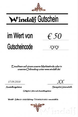 Windalf GESCHENKGUTSCHEIN im Wert von € 50 - Windalf.de