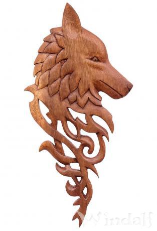 Asatru Wolfs-Kopf Wand Deko ~ YURI ~ h: 40 cm - Vikings Wolf mit Ornamenten Holzbild - Handarbeit aus Holz - Windalf.de
