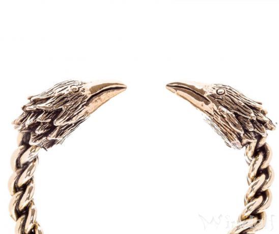Damen Armreif ~ RAVONA ~ Ø 5.5 cm - Vikings Raben - Odin Schmuck - Handarbeit aus Bronze - Windalf.de