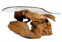 Rustikaler Couchtisch ~ LAZAR ~ B: 135 cm H: 48 cm - Wohnzimmertisch mit Glasplatte - Unikat aus Wurzelholz - Windalf.de