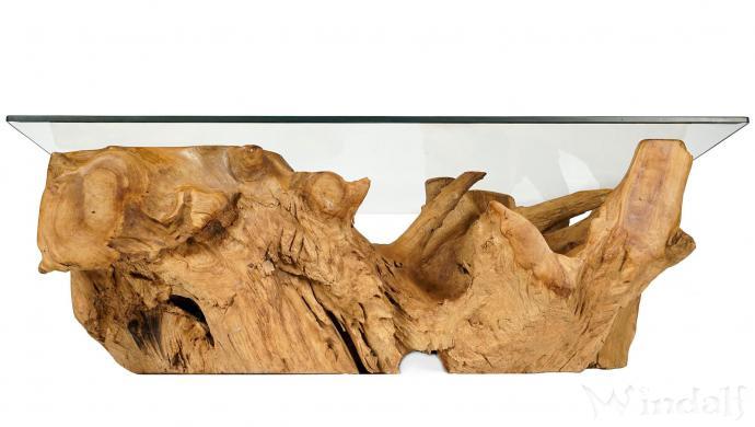 Rustikaler Couchtisch ~ AVINA ~ B: 130 cm H: 44 cm - Wohnzimmertisch mit Glasplatte - Unikat aus Wurzelholz - Windalf.de