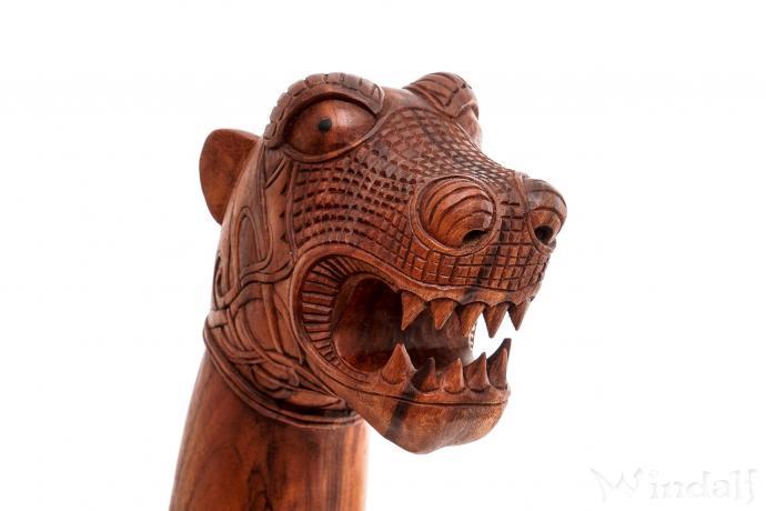 Asatru Holz Drache ~ ERICON ~ h: 70 cm - Wikingerschiff Drachen Figur - Vikings Gartendeko - Handarbeit aus Holz - Windalf.de