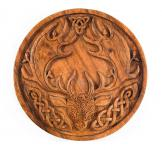 Celtic Wandbild ~ CERNUNNOS ~ Ø 22 cm - Vintage Hirsch als keltischer Gott - Handarbeit aus Holz - Windalf.de