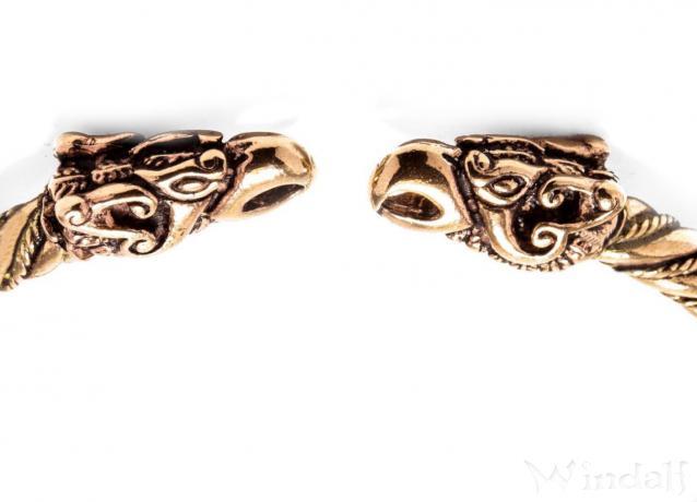 Asatru Frauen Armreif ~ ODINS RABEN ~ Ø 5.7 cm - Wikinger Hugin & Munin Armschmuck - Handarbeit aus Bronze - Windalf.de