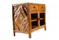 Handmade Holz-Kommode - 2 Türen mit Glas & 2 Schüben ~ HAMFAST ~ 95 cm - Küchenschrank - Geschirrschrank - Handarbeit aus Teakholz - Windalf.de