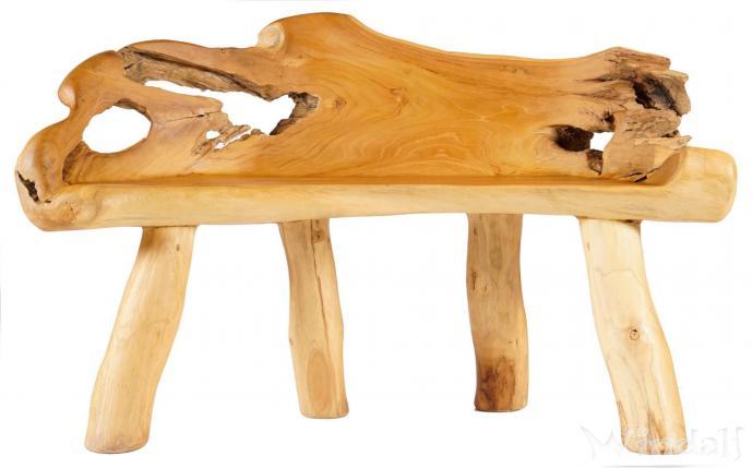 Rustikale Sitzbank ~ TILIO ~ 129 cm - Natur Holzbank - Handarbeit aus Wurzelholz - Windalf.de