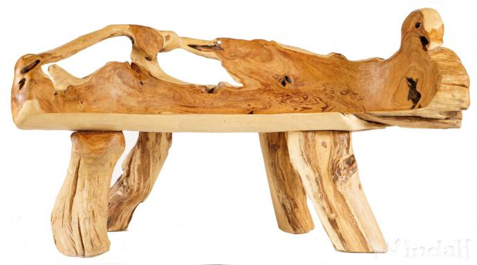 Natürliche Große Sitzbank ~ ELAILA ~ 140 cm - Küchenbank -  Handarbeit aus Teak-Wurzelholz - Windalf.de