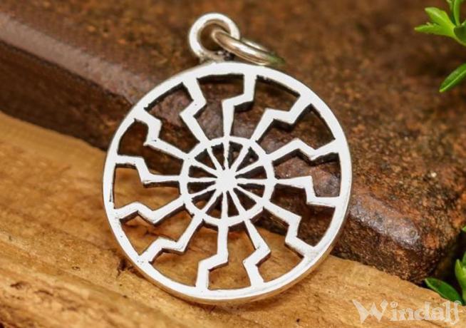 WINDALF Schmuck Anhänger SCHWARZE SONNE Ø 2 cm Amulett Silber