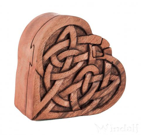 Pagan Geschenkdose ~ FIONA ~ 8.3 cm - Keltische Herz Schmuckdose - Handarbeit aus Holz - Windalf.de