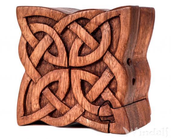 Irische Zauberdose ~ NUADA ~ 12 cm - 4 Elemente - Celtic Geschenkdose - Handarbeit aus Holz - Windalf.de